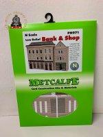 Metcalfe PN971 Low Relief Bank & Shop Card Kit - N Gauge