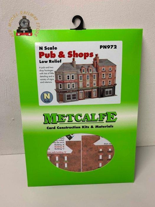 Metcalfe PN972 Low Relief Pub & Shops Card Kit - N Gauge
