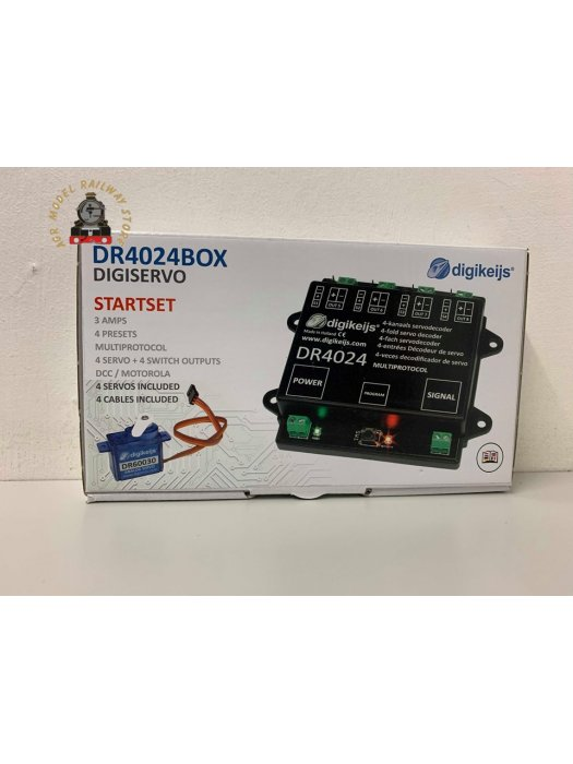 Digikeijs DR4024-Box Complete set - 1x servo decoder, 4x mini servo and 4x 50cm extension cable