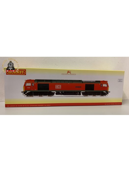 Hornby OO R3885 DB Cargo UK, Class 60, Co-Co, 60062 'Stainless Pioneer'