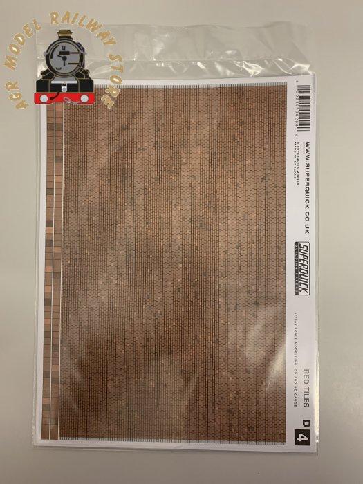 Superquick D4 Red Tiles Building Papers- OO Gauge