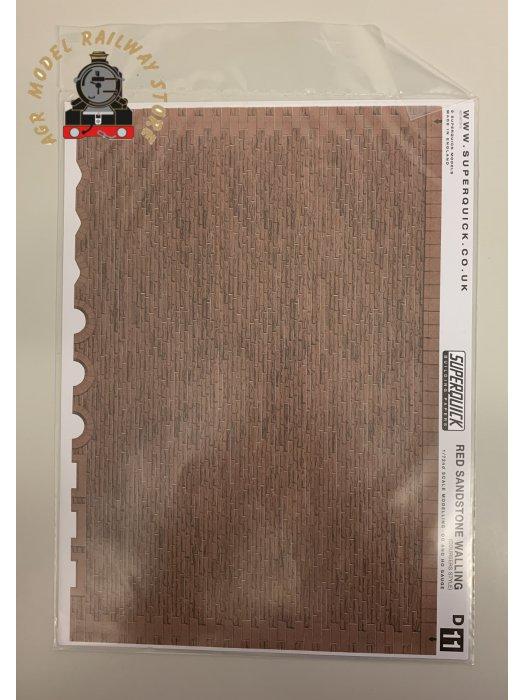 Superquick D11 Red Sandstone Coursers Building Papers - OO Gauge