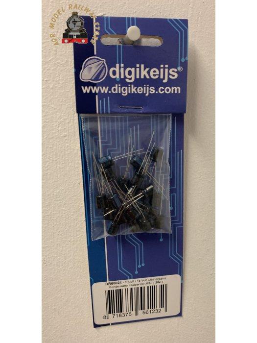 Digikeijs DR60021 - SET WITH 20 MINI CAPACITORS 100UF / 16VOLT