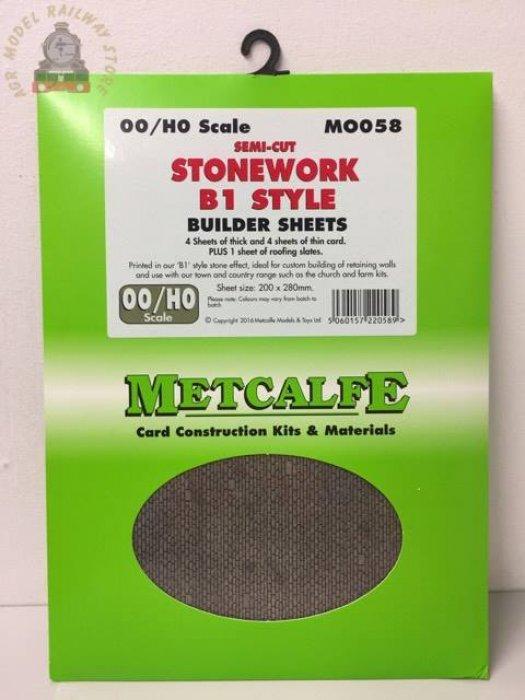Metcalfe MOO58 Semi Cut Stonework Sheets B1 Style - OO Gauge